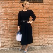 VES299 - Vestido midi negro...