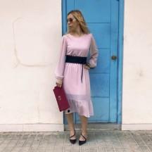VES310 - Vestido gasa rosa...
