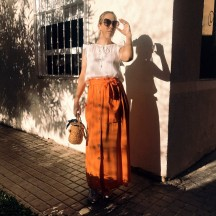 FD312 - Falda larga naranja...