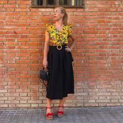 FD208 - Falda midi color...