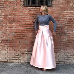 FD008 - Falda maxi raso rosa