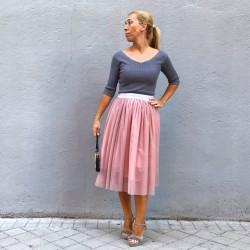 FD233 - Falda tul rosa palo...