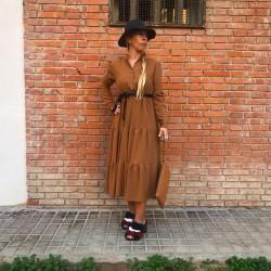 VES242 - Vestido midi camel...