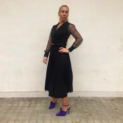 VES254 - Vestido midi negro...