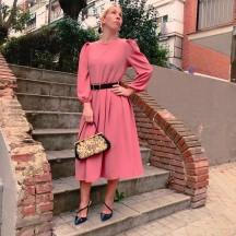 VES281 - Vestido midi rosa...